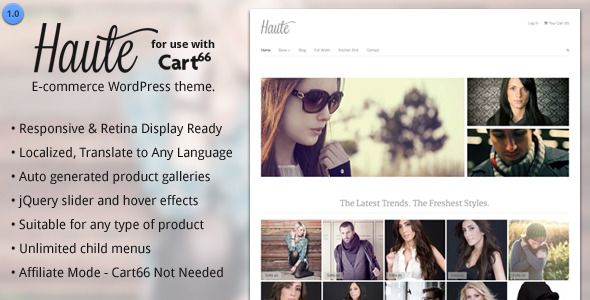 The Haute WordPress E-commerce Theme For Cart66