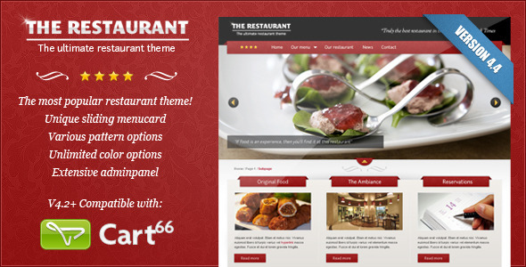 The Restaurant WordPress E-commerce Theme For Cart66
