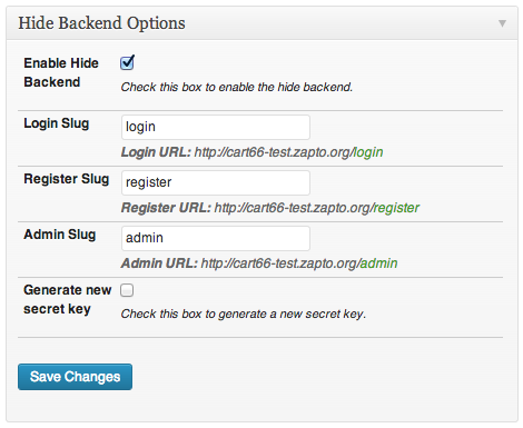 Secure wordpress by hiding backend URLs